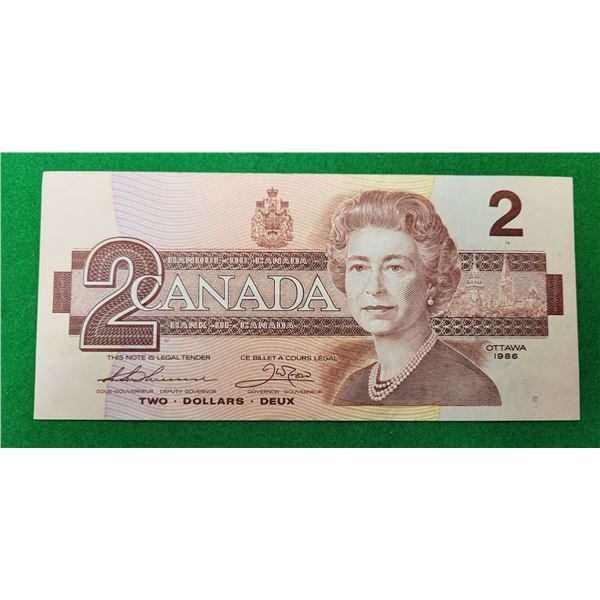 3)  CANADIAN $2.00 BILL FROM 1986.