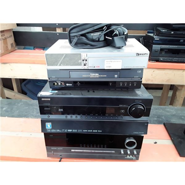 Lot of stereo equipment, amplifiers, video cassette machine headphones and more