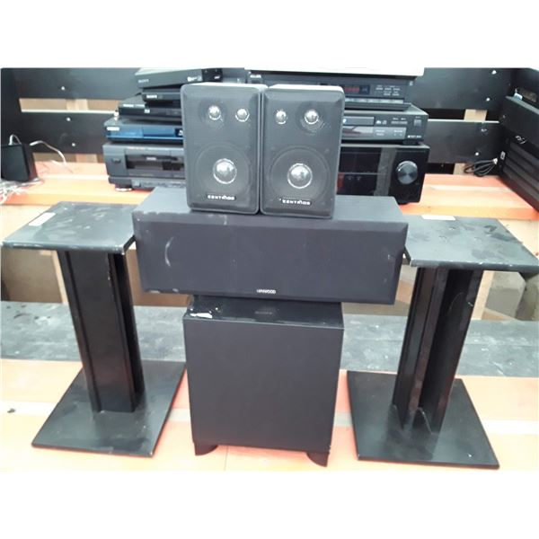 lot of 4 speakers and stands