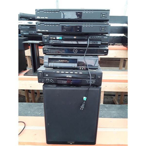 Stack of electronics Inc. subwoofer, Recieves, cd players and more