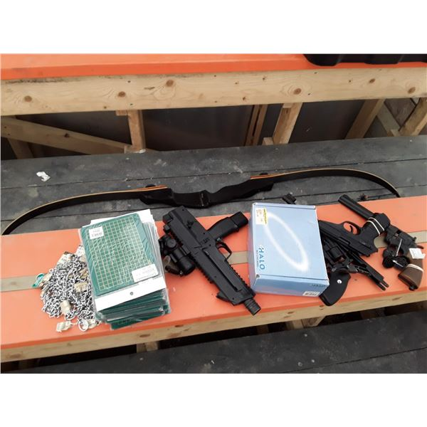 Lot of Pellet guns, Bow, Dog chains, and More