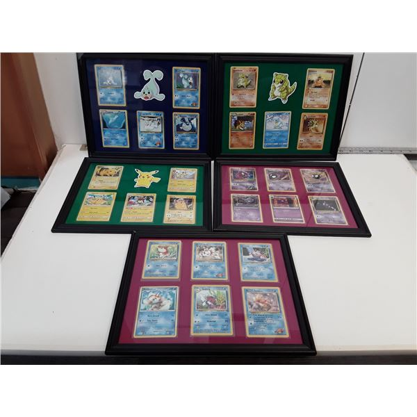 Lot of 5 Framed Pokemon Card Displays With Cards