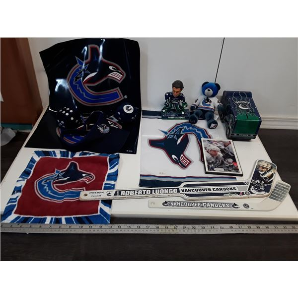 Lot of Vancouver Canucks Memorobilia With Bobblehead
