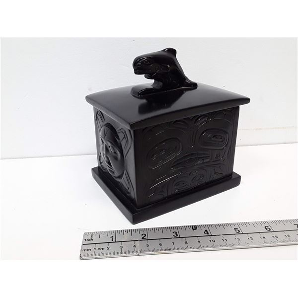 Northwest Coast First Nations Lidded Box Orca and Sun Motif
