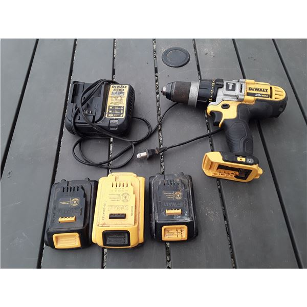 Dewalt 20v Drill with 3 Batteries and Charger