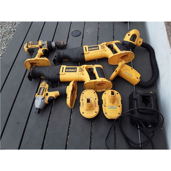 Dewalt Drill, Impact, 2 Sawsalls, 2 Batteries and Charger
