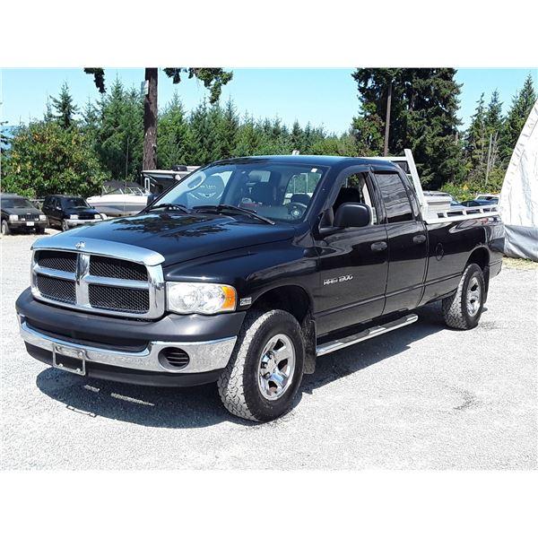 H2 --  2005 DODGE RAM 1500 ST CREW CAB 4X4, BLACK, 277,421 KMS