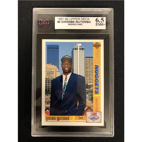 1991-92 UPPER DECK #3 DIKEMBE MUTOMBO Rookie Card (6.5 ENM+)