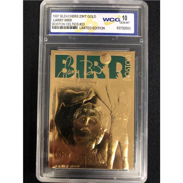 1997 BLEACHERS 23KT GOLD LARRY BIRD BOSTON CELTICS #33 LE (10 GEM MINT)