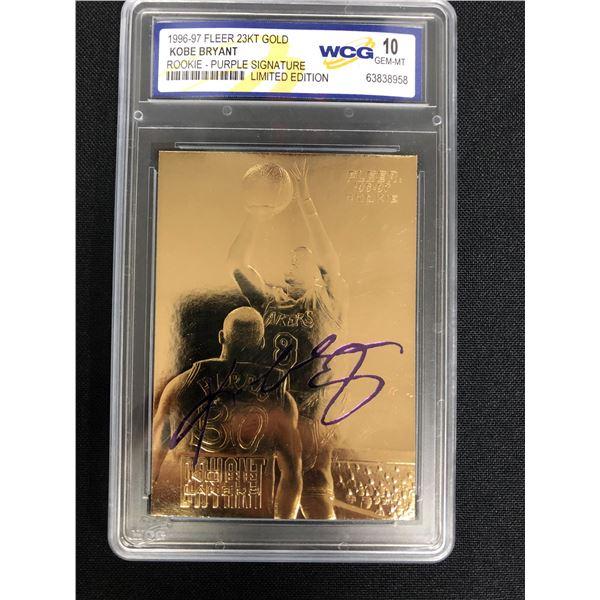 1996-97 FLEER 23KT GOLD KOBE BRYANT ROOKIE - PURPLE SIGNATURE (10 GEM MINT)