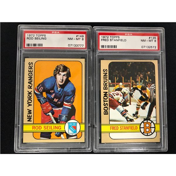 1972 TOPPS GRADED HOCKEY CARD LOT (ROD SEILING/ FRED STANFIELD) NM-MT 8