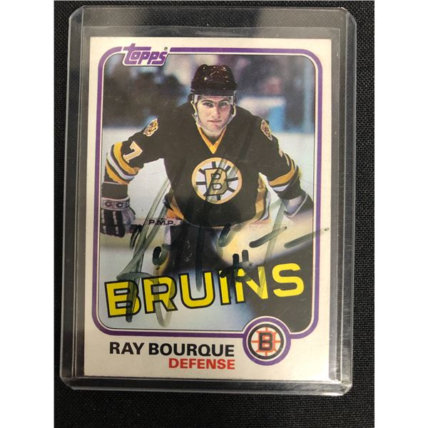 1981 TOPPS #5 RAY BOURQUE SIGNED HOCKEY CARD