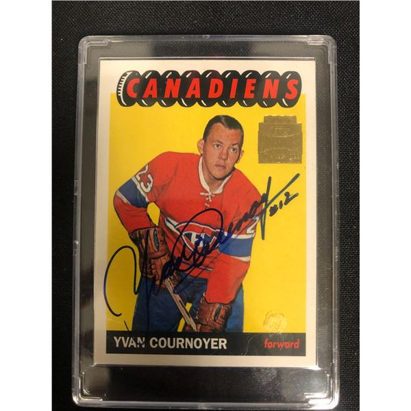 YVAN COURNOYER SIGNED 2002 TOPPS ARCHIVES HOCKEY CARD