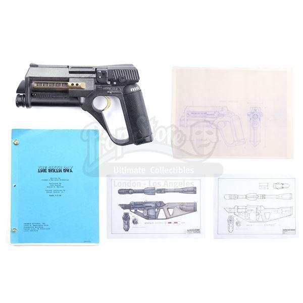"Lot # 4: 6TH DAY (2000), THE - ""Foosh"" Gun, Drawings, and Prop Master Script"