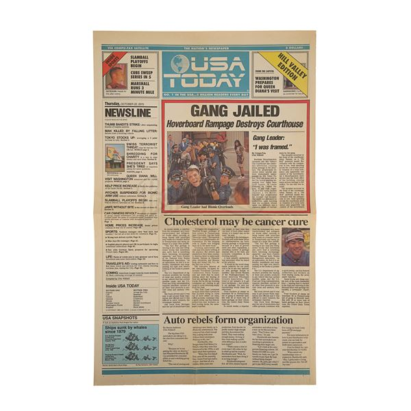 """Lot # 27: BACK TO THE FUTURE PART II (1989) - """"Gang Jailed"""" USA Today Newspaper"""
