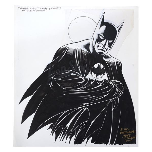 Lot # 31: BATMAN (1989) - Hand-Drawn and Signed Jerry Ordway Comic Book Adaptation Display Artwork