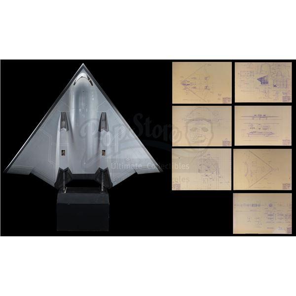 Lot # 45: BROKEN ARROW (1996) - B-3 Stealth Bomber Model Miniature with Mounted Blueprints