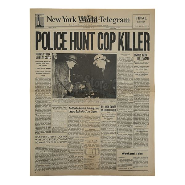 "Lot # 90: THE GODFATHER (1972) - New York World-Telegram ""Police Hunt Cop Killer"" Newspaper"