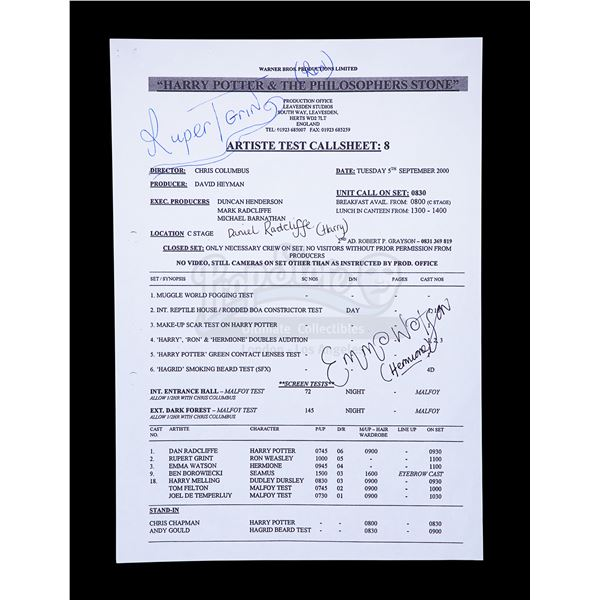 Lot # 108: HARRY POTTER AND THE SORCERER'S STONE (2001) - Daniel Radcliffe and Cast Autographed Call