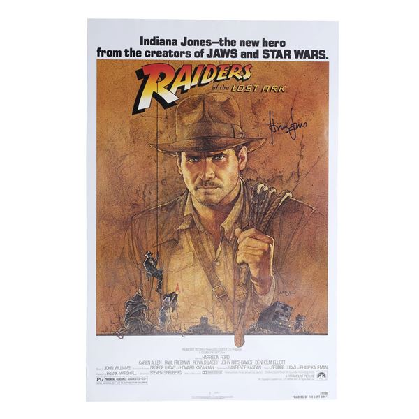 Lot # 129: RAIDERS OF THE LOST ARK (1981) - Harrison Ford-Signed Rolled One-Sheet
