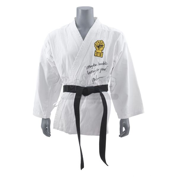Lot # 157: THE KARATE KID PART II (1986) - Chozen Toguchi's (Yuji Okumoto) Signed Karate Gi