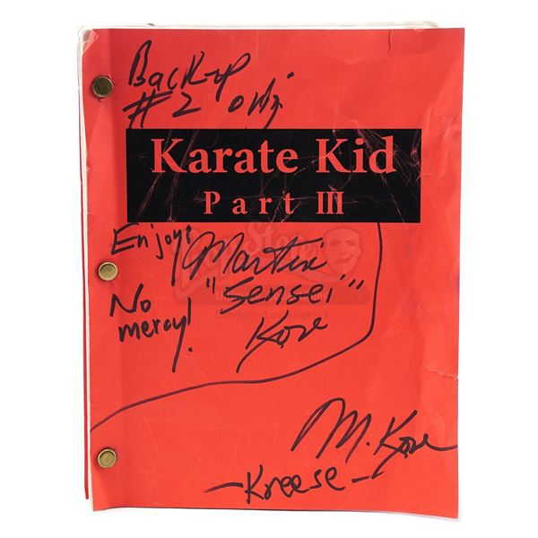 """Lot # 158: THE KARATE KID PART III (1989) - Martin Kove's Hand-Signed and Annotated """"John Kreese"""" Sc"""