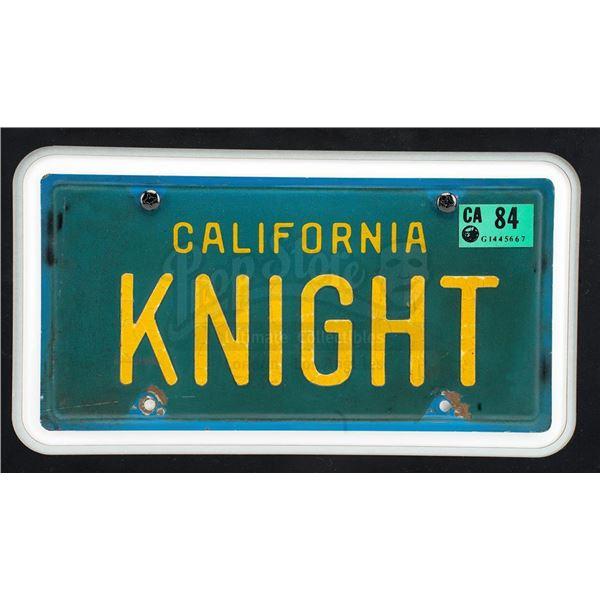 Lot # 159: KNIGHT RIDER (T.V. SERIES, 1982 - 1986) - Framed KITT License Plate Display