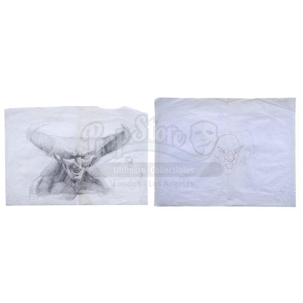 Lot # 167: LEGEND (1985) - Hand-Drawn Jack Johnson Darkness Mask Design Sketches