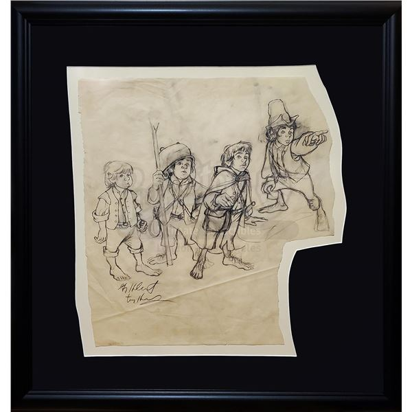 Lot # 173: THE LORD OF THE RINGS FRANCHISE - Hand-Drawn Brothers Hildebrandt Hobbits Sketch