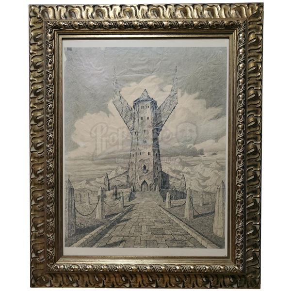 Lot # 174: THE LORD OF THE RINGS FRANCHISE - Hand-Drawn Brothers Hildebrandt Tower of Orthanc Sketch