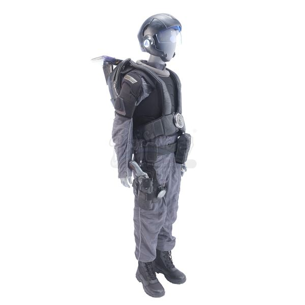 Lot # 189: MINORITY REPORT (2002) - Pre-Crime Officer Ross' Costume with Electronic Jetpack and Helm