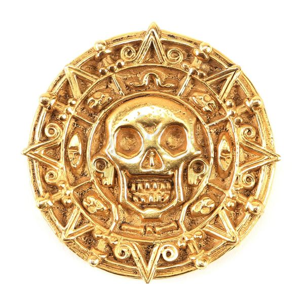 Lot # 204: PIRATES OF THE CARIBBEAN: THE CURSE OF THE BLACK PEARL (2003) - Cursed Aztec Coin