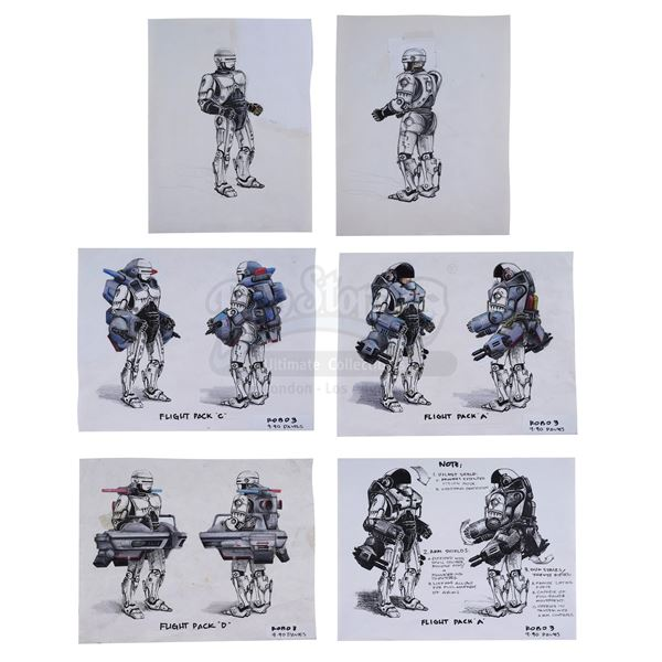 Lot # 218: ROBOCOP 3 (1993) - Hand-Drawn Alternate Robocop Jetpack Concepts By Craig Hayes
