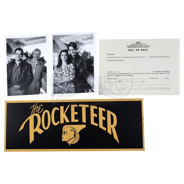 Lot # 222: THE ROCKETEER (1991) - Bigelow Bill of Sale, Dash Card, and Character Photos