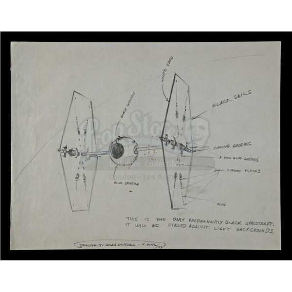 Lot # 277: STAR WARS - EP IV - A NEW HOPE (1977) - Hand-Drawn Colin Cantwell TIE Fighter Concept Des