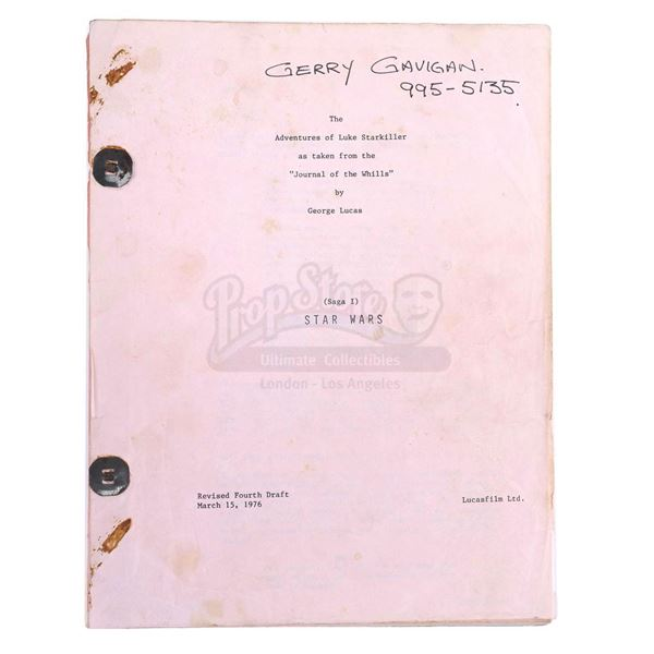 Lot # 280: STAR WARS - EP IV - A NEW HOPE (1977) - Gerry Gavigan's Revised Fourth Draft Script