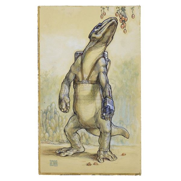 Lot # 282: STAR WARS - EP IV - A NEW HOPE (1977) - Hand-Drawn Ron Cobb Amputee Lizard Illustration