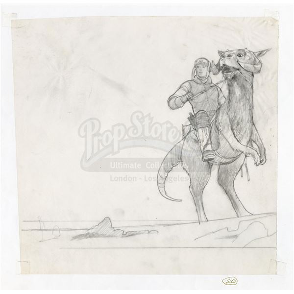 Lot # 299: STAR WARS - EP V - THE EMPIRE STRIKES BACK (1980) - Luke on Tauntaun Drawing for Producti