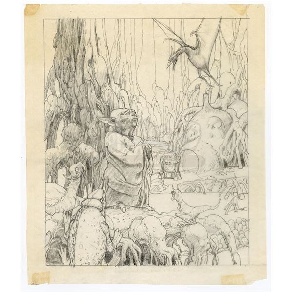 Lot # 308: STAR WARS - EP V - THE EMPIRE STRIKES BACK (1980) - Yoda Drawing For Radio Drama Poster I