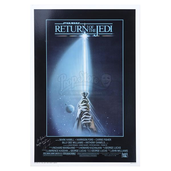 """Lot # 332: STAR WARS - EP VI - RETURN OF THE JEDI (1983) - Style """"A"""" One-Sheet Signed and Inscribed"""