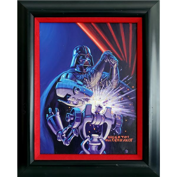 """Lot # 337: STAR WARS: SHADOWS OF THE EMPIRE (1990) - Hand-Painted Brothers Hildebrandt """"Vader Stays"""