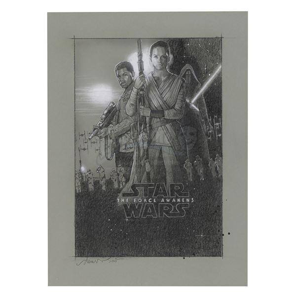 Lot # 340: STAR WARS - EP VII - THE FORCE AWAKENS (2015) - Hand-Drawn Drew Struzan One-Sheet Compreh