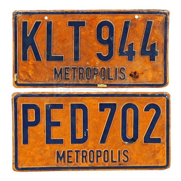 Lot # 362: SUPERMAN II (1980) - Pair of Metropolis License Plates