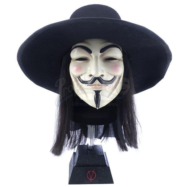 Lot # 403: V FOR VENDETTA (2005) - Crowd Member's V Mask, Hat, and Wig