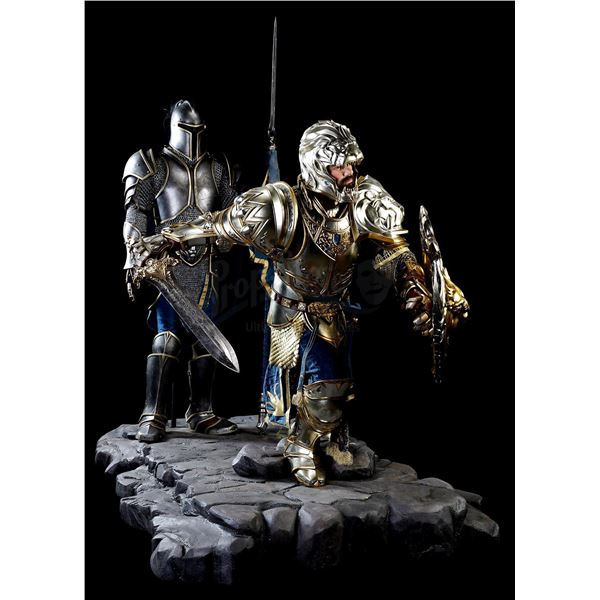 Lot # 409: WARCRAFT (2016) - Oversized King Llane Wrynn (Dominic Cooper) and Alliance Foot Soldier M