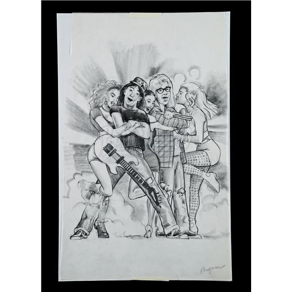 Lot # 415: WAYNE'S WORLD (1992) - Hand-Drawn Poster Concept Artwork by Dan Chapman