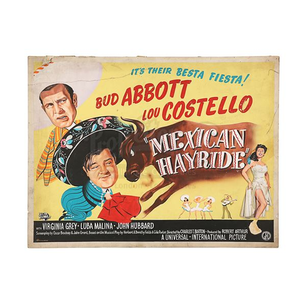 Lot # 448: ABBOTT AND COSTELLO: MEXICAN HAYRIDE (1948) - Hand-painted U.K. Quad Poster Concept Artwo