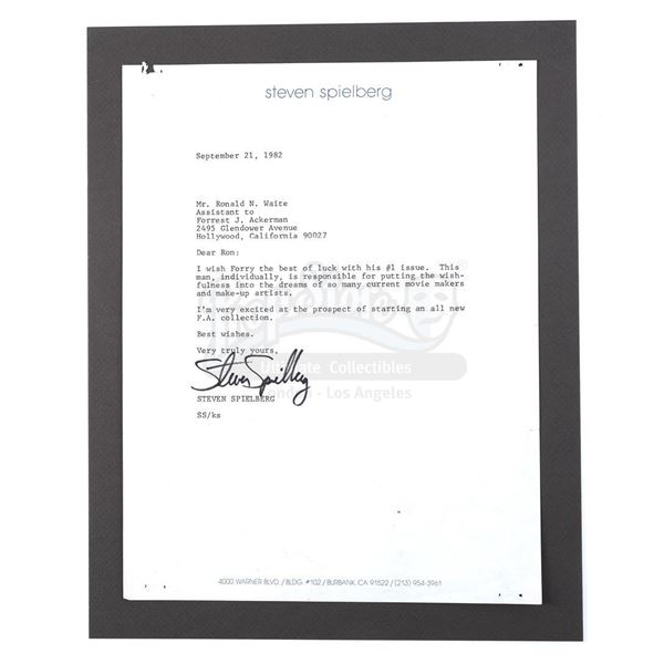 Lot # 455: ACKERMAN COLLECTION, THE - Steven Spielberg-Signed Letter