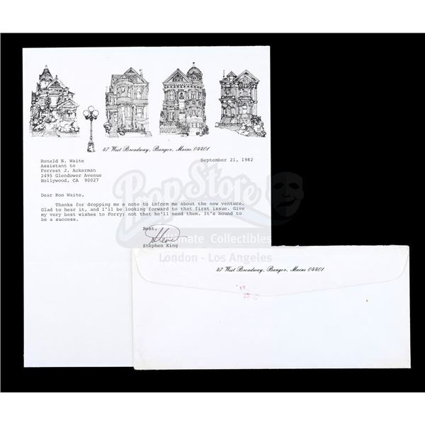 Lot # 456: ACKERMAN COLLECTION, THE - Stephen King-Signed Letter with Envelope