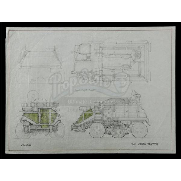 Lot # 465: ALIENS (1986) - Hand-Illustrated Ron Cobb Daihotai Tractor Concept Sketch